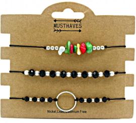 Bracelet Set 3pcs | Zwart