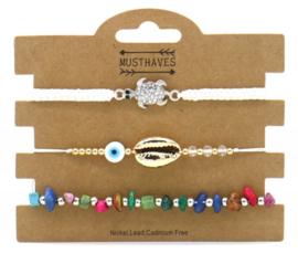 Bracelet Set 3pcs Shell-Stones-Turtle | White