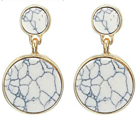 Trendy marble oorbellen | Goud