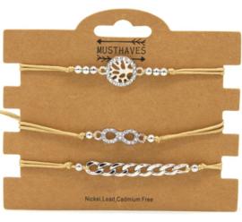 Bracelet Set 3pcs Tree of Life - Infinity - Chain