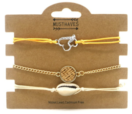 Bracelet Set 3pcs with Shell and Heart | Bruin