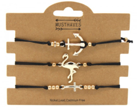 Bracelet Set Flamingo-Anchor-Cross