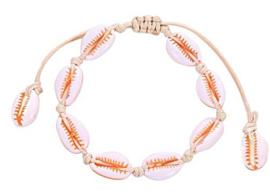 Schelp armbandje | Oranje-wit