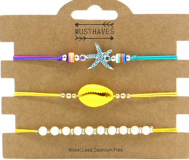 Bracelet Set 3pcs Starfish-Pearls-Shell | Yellow
