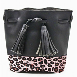 Bag with Leopard print and Tassels  Black-Pink