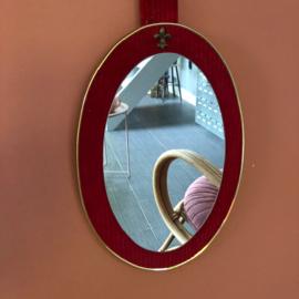 Spiegel Ovaal Roze/Rood