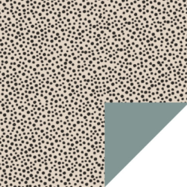 rol eco papier, black dots ecru