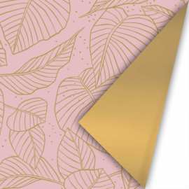 rol papier extra lang, lovely leaves roze