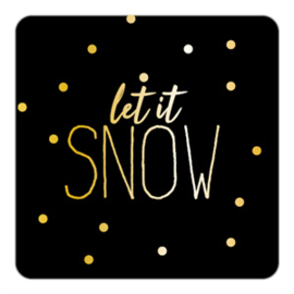 sluitzegel/sticker vierkant, let it snow 10 stuks