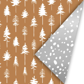 rol papier kerst extra lang, lovely trees brons met wit