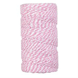 bakers twine grote klos roze/wit