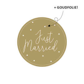 sluitzegel/sticker rond, just married 5 stuks