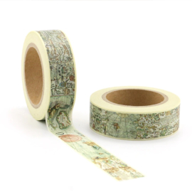 washi tape, vintage map  10 meter
