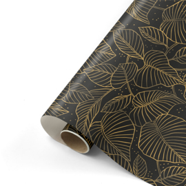 rol papier extra lang arts & crafts, lovely leaves black/champagne