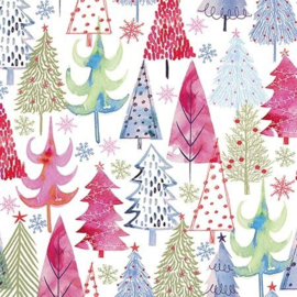 rol papier, colorful Christmas trees