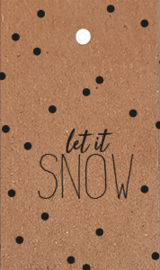 label kraft kerst,  let it snow 5 stuks