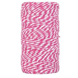 bakers twine grote klos fucsia/wit