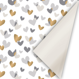 rol papier extra lang, duo hearts champagne/goud/grijs