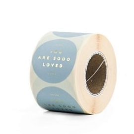 sluitzegel/sticker rond grijsgroen, you are sooo loved 10 stuks