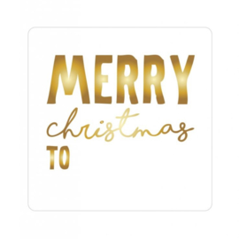 sluitzegel/sticker vierkant, merry christmas to, goud 10 stuks