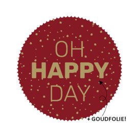 sluitzegel/sticker rond bordeaux, oh happy day 10 stuks