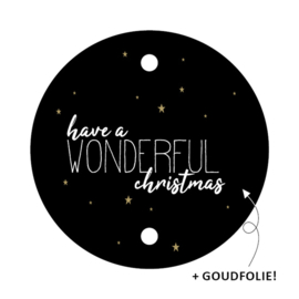 label kerst rond, have a wonderful christmas 5 stuks