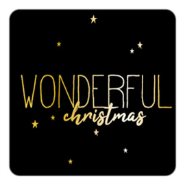 sluitzegel/sticker vierkant, wonderful christmas 10 stuks