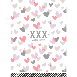 kaart hartjes, -XXX- with love