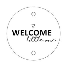 label wit rond, welcome little one 5 stuks