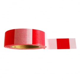 washi tape, rood wit, 10 meter