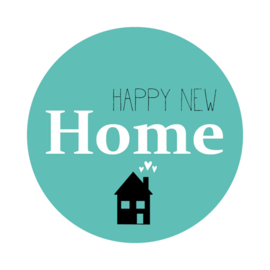 sluitzegel/sticker rond XXL, happy new home 5 stuks