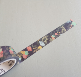 washi tape, indigo floral design,  7 meter