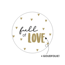 sluitzegel/sticker rond, full of love 10 stuks