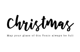 mini kaart kerst, may your glass of Gin Tonic always be full