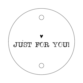 label/kaartje rond, just for you, 5 stuks