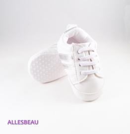 Baby sneakers wit met zilver