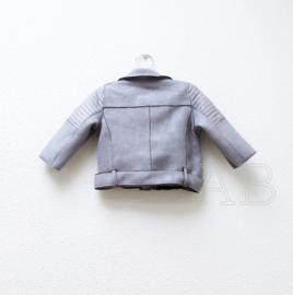 Biker baby jacket grey suede