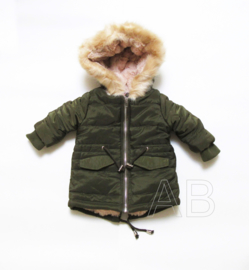 Winterjas furry warm winter (zwart of khaki)