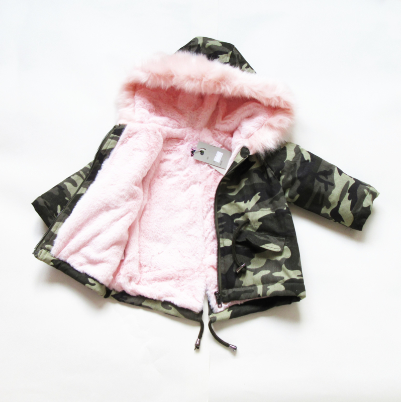 Jas camo parka pink Teddy (licht roze)