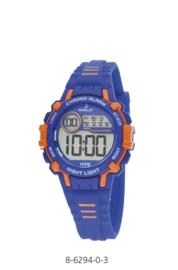 Nowley 8-6294-0-3 digitaal tiener horloge 35 mm 100 meter blauw/ oranje