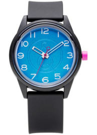 Q&Q 651002 Smile Solar tiener horloge 40 mm 50 meter zwart/ blauw/ roze