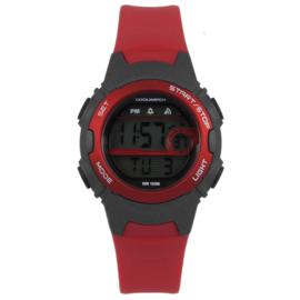 Coolwatch CW.344 digitaal tiener horloge 34 mm 100 meter rood/ grijs