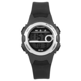 Coolwatch CW.343 digitaal tiener horloge 34 mm 100 meter zwart/ grijs