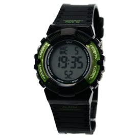 Q&Q M138J001 digitaal tiener horloge 36 mm 100 meter zwart/ groen