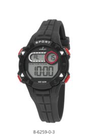 Nowley 8-6259-0-3 digitaal tiener horloge 36 mm 100 meter zwart/ rood