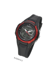 Nowley 8-6264-0-2 analoog/ digitaal tiener horloge 40 mm 100 meter zwart/ rood
