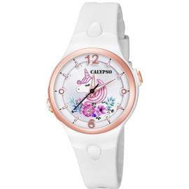 Calypso K5783/1 analoog unicorn horloge 34 mm 100 meter wit/ rosé