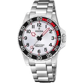 Festina F20459/1 tiener horloge 36 mm 100 meter zilverkleurig/ zwart/ rood