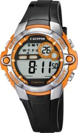 Calypso K5617/4  digitaal tiener horloge 37 mm 100 meter zwart/ oranje