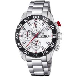 Festina F20457/1 chronograaf horloge 38 mm 50 meter zilverkleurig/ zwart